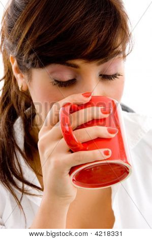 Front View Of Woman Drinking Coffee