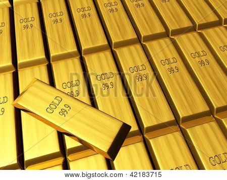Vista de macro de filas de lingotes de oro