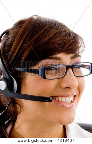 Close View Of Smiling Female Customer Care
