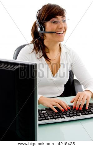 Front View Of Smiling Female Customer Care