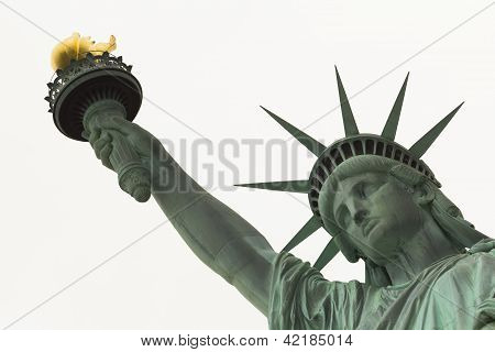 Statue Of Liberty Close Up On Face And Arm