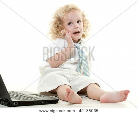 Cute Young Blond Toddler Jewish Boy Playing Pretend
