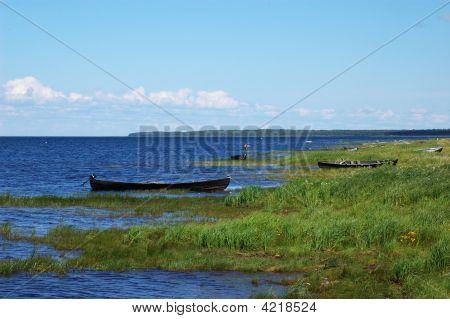 Lake-Bank With Old Fishing Boats