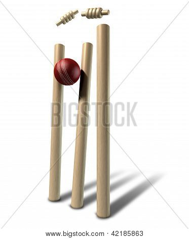 Cricket Ball Hitting Wickets Perspective Isolated