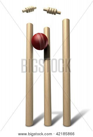 Cricket Ball Hitting Wickets Front Isolated