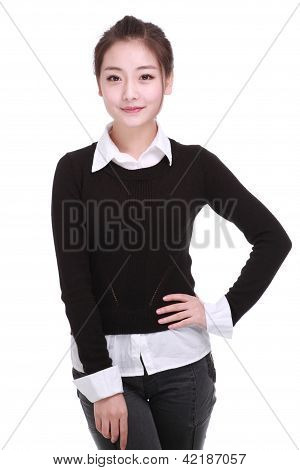 A Beautiful Girl Isolated On A White Background