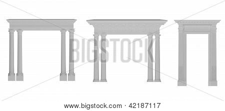 Stock Photo: Roman Columns Framed In An Arch