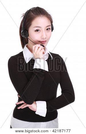 Businesswoman Talking On Headset