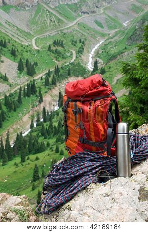Rucksack, Rope And Thermos