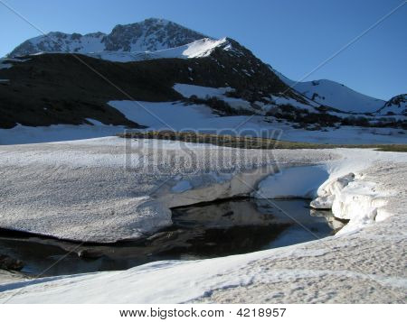Mountains, Snow, Lake, Water, Top, Nature