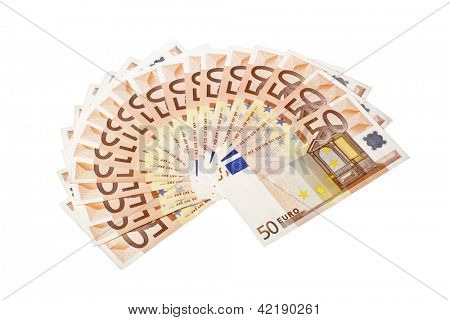Fifty euro paper money on a white background