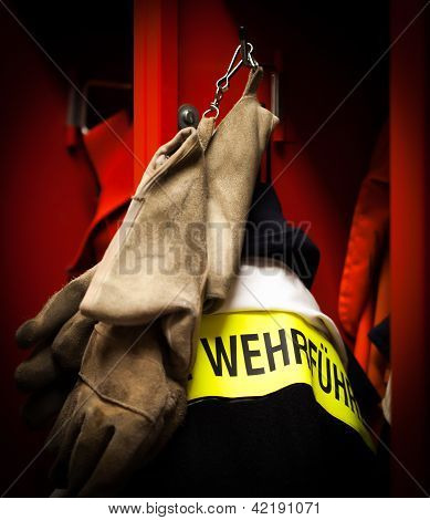 Fire Department fire chief jacket with refractory gloves