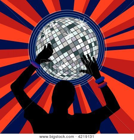 Glowing Disco Ball And Dancer