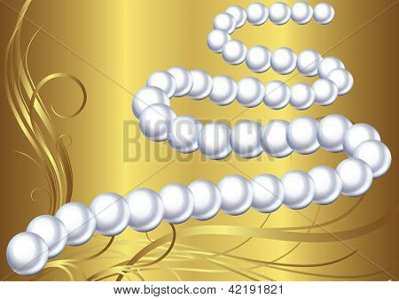 Pearl Necklace Vector Illustration On The Gold Abstract Background With Floral Elements