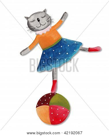 the cat on the ball