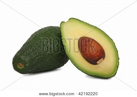 One Full And Half Avocado (isolated)