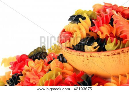 Colorful dry rotini pasta