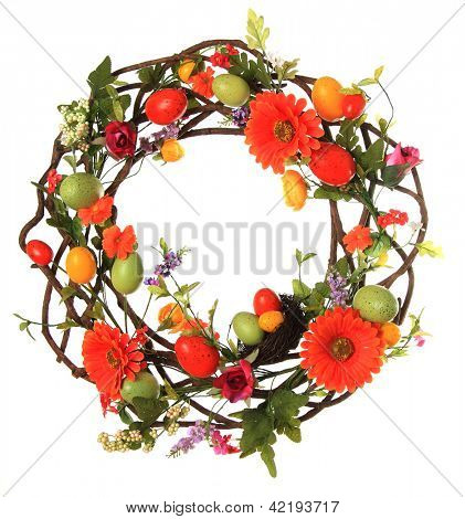 Easter egg wreath studio isolated on white.