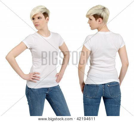 Cute Female With Blank White Shirt