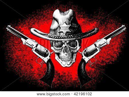 skull with revolver