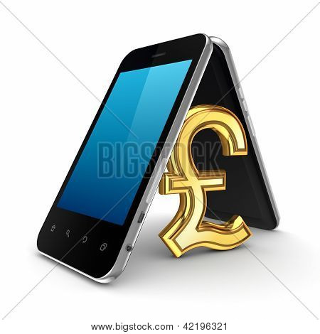 Pound sterling sign icon under mobile phones.