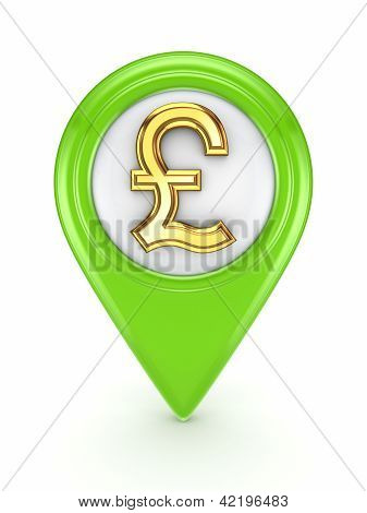 Icon with sign of pound sterling.