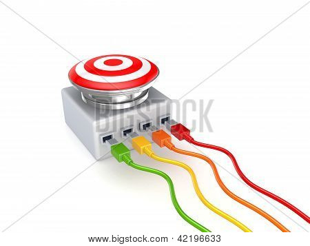 Colorful patchcords connected to big button.
