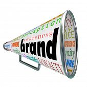 A bullhorn or Megaphone trumpeting a product's or comapny's brand to build reputation, identity, cre