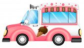 image of ice-cream truck  - Illustration of an ice cream car on a white background - JPG