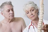 stock photo of spinal cord  - Senior female doctor showing spinal cord to patient in clinic - JPG