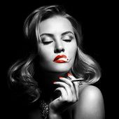 stock photo of fine art portrait  - Retro Portrait Of Beautiful Woman With Cigarette - JPG