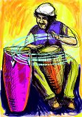 foto of congas  - A hand drawn illustration  - JPG