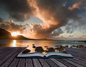 stock photo of cervus elaphus  - Creative composite image of seascape in pages of magic book - JPG