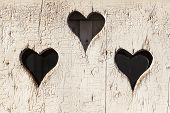 foto of outhouse  - Heart shape look out on wooden door to outhouse - JPG