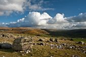 pic of errat  - Landscape view from Norber Erratics towards Wharfe Dale in Yorkshire Dales National Park - JPG