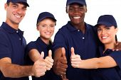 group of service staff thumbs up on white