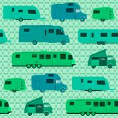 stock photo of motorhome  - Caravans and Motorhomes as a pattern background or wrapping - JPG