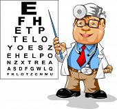 image of snellen chart  - Cute men doctor  - JPG