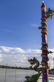 stock photo of hangul  - Colourful dragon sculptures of Chinese ancient history at Chachoengsao Thailand - JPG