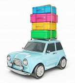 picture of car carrier  - small car isolated on a white background - JPG
