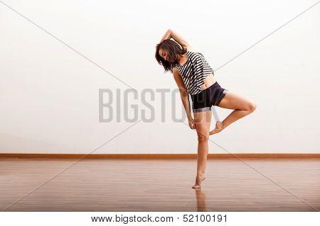 Pretty Hispanic jazz dancer
