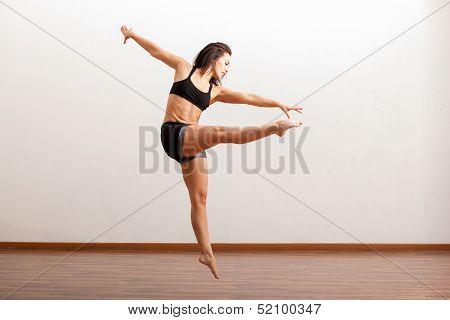 Female jazz dancer in action