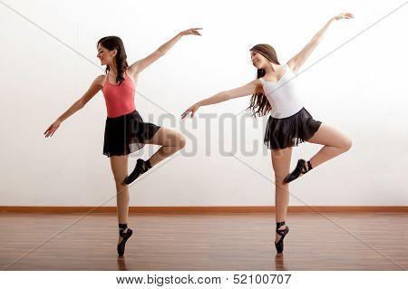 Cute ballerinas rehearsing