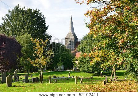 English Churchyard in Autumn