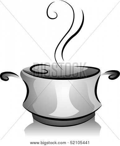 Black and White Illustration of a Pot Filled with Steaming Broth
