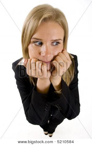 Wide Angle Picture Of Worried Businesswoman