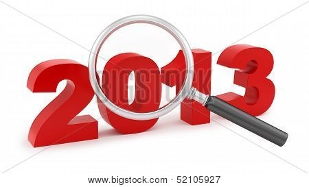 magnifying glass over 2013