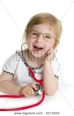 Cute Little Girl Pretending To Be A Doctor