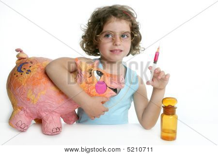 Little Girl Pretending Be Veterinary With A Pig