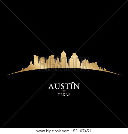 Austin Texas City Skyline Silhouette Black Background